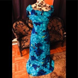 1960s Blue Vintage Hawaiian Darina Honolulu Dress